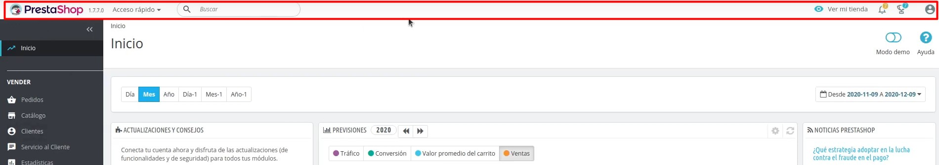 Menú superior del BackOffice de PRestaShop 1.7.7